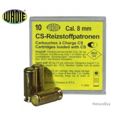 Boite de 10 Cartouches Gaz CS WADIE Cal 8mm