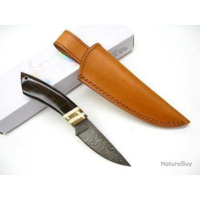 Couteau Damas Skinner Lame Acier 256 Couches Manche Bois/Os Etui Cuir DM1099