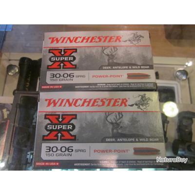 Balles winchester cal 30-06 150 grains power point à 33€ la boite de 20