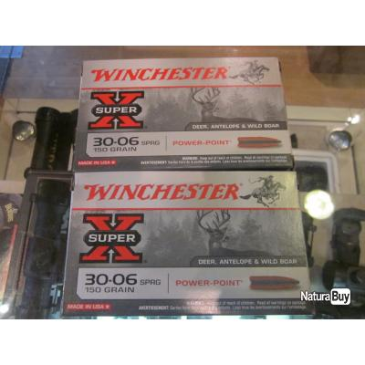 Balles winchester cal 30-06 150 grains power point à 33€ la boite de 20