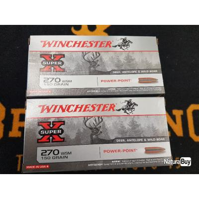 Balles winchester 270 WSM 150 grains power point