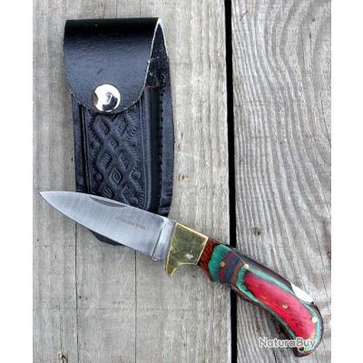 Couteaux pliant Bois Couleur + étui cuir