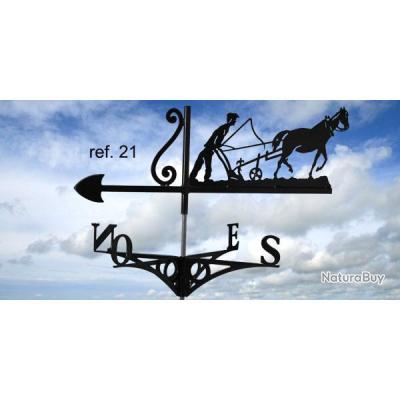 girouette de toit motif laboureur cheval 2 d corations de jardin 2380061. Black Bedroom Furniture Sets. Home Design Ideas