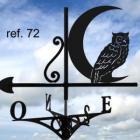 GIROUETTE DE TOIT motif: hibou devant la lune