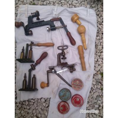 Lot de materiel ancien pour fabrication cartouches - Fabrication glue pour chasse ...