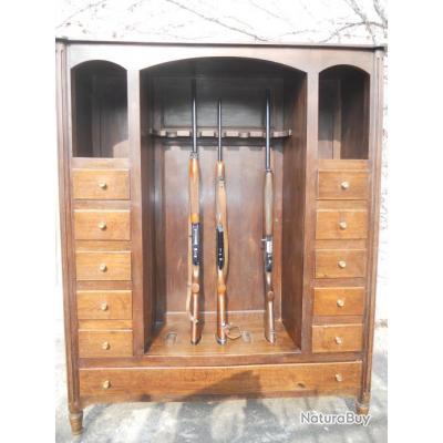 Meuble pour 5 armes avec 11 tirroirs rateliers et porte for Meuble porte fusils occasion