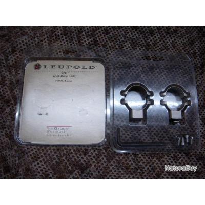 paire de collier nickelé LEUPOLD pour montage type STD , diamètre : 25,4 mm , hauteur : haut