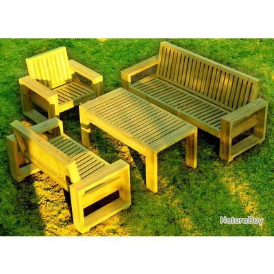 salon de jardin en bois massif huil mobilier 2520080. Black Bedroom Furniture Sets. Home Design Ideas