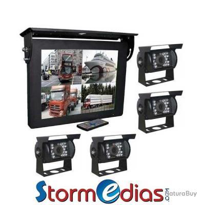kit cam ra de recul 15 pouces 12v 36v support splitter video 4 cameras accessoires. Black Bedroom Furniture Sets. Home Design Ideas