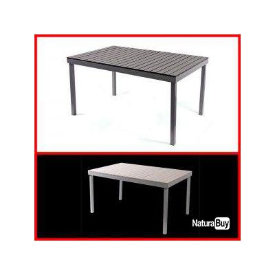 Table de jardin m91 140x86x72cm aluminium plastique noir for Table de jardin plastique blanc