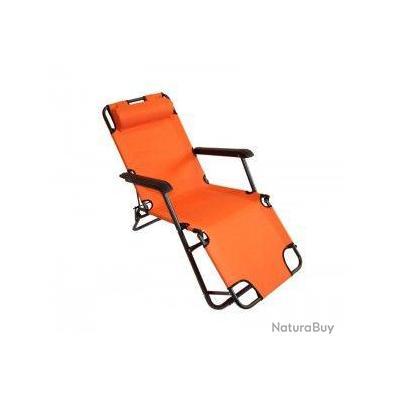 Transat pour jardin pliable bain de soleil m12 orange a01 for Transat bain de soleil pliable