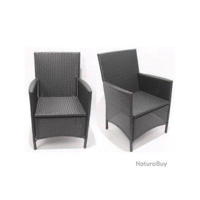 Fauteuil de jardin hularo resine tress e 60x55x88cm noir a01 mobilier 2664 - Fauteuil resine tressee noir ...