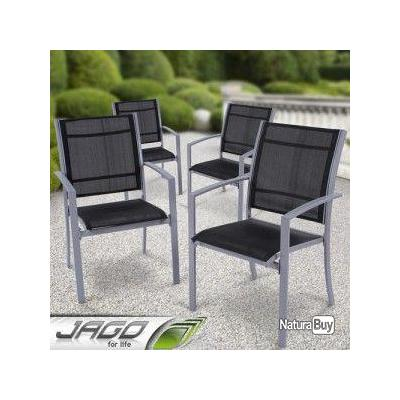 4 chaise en aluminium meuble design mobilier jardin j01 for Meuble jardin design