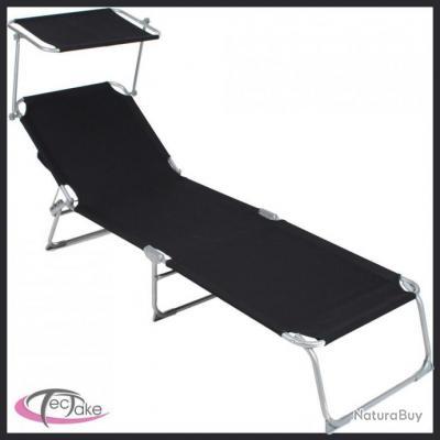 Chaise longue de jardin pliante multiposition noir t02 for Chaise longue pliante