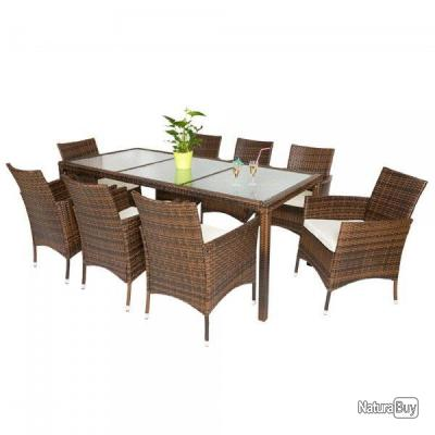 Ensemble salon de jardin en r sine tress e poly rotin 8 1 noir brun t02 mobilier 2666289 Salon de jardin imitation rotin noir