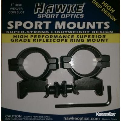 """Colliers HAWKE Sport Optics - 25,4mm (1"""")  MEDIUM pour Weaver / Picatinny (Anneaux montage) HM5207"""
