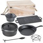 set de 7 pi�ces en fonte pour la cuisine+caisse en bois de rangement