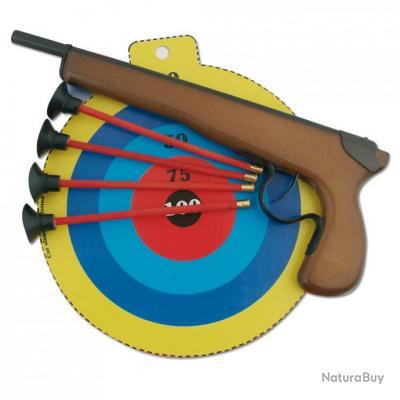 Pistolet crosse en bois pour enfant avec cible