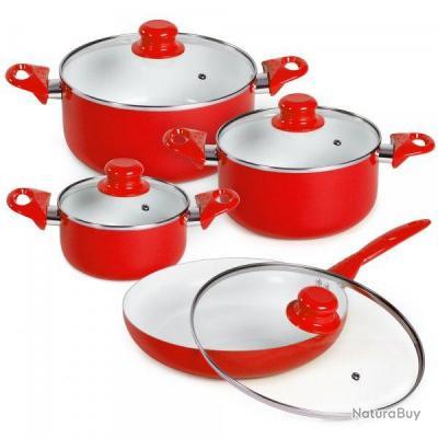 8pcs batterie de cuisine kit casseroles po le c ramique for Ustensile de cuisine rouge
