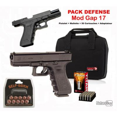 Pack bruni gap 17 black arme de d fense cal 9mm p a k for Arme defense maison