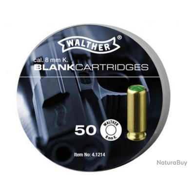Munitions en Boite de 50 Cartouches à Blanc WALTHER Cal. 8 mm PISTOLET