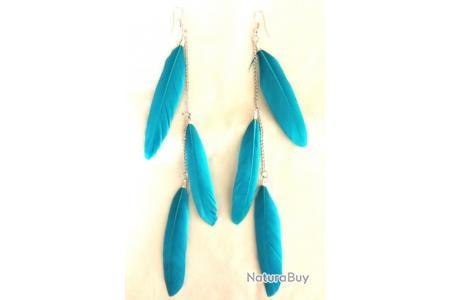 boucle d'oreille plume bleu