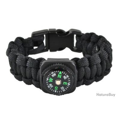 00001 Bracelet Paracorde NOIR tactique avec boussole sifflet