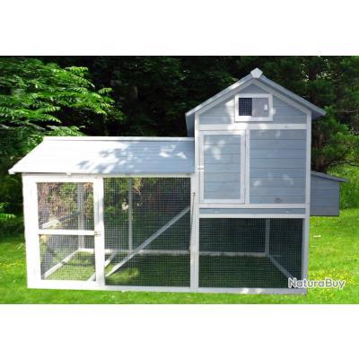 poulailler 512004 gris avec parc pour 8 a 10 poules ou autre poulaillers clapiers enclos. Black Bedroom Furniture Sets. Home Design Ideas