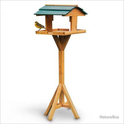 cabane oiseaux mangeoire abri pour oiseaux sur pied bois de sapin 112x31x30 cm accessoires. Black Bedroom Furniture Sets. Home Design Ideas