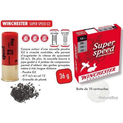 Cartouches winchester super speed 12/70 36gr dispo en Pb N° 0, 1, 4, 5  et 6 à 8.5€ la boite de 10
