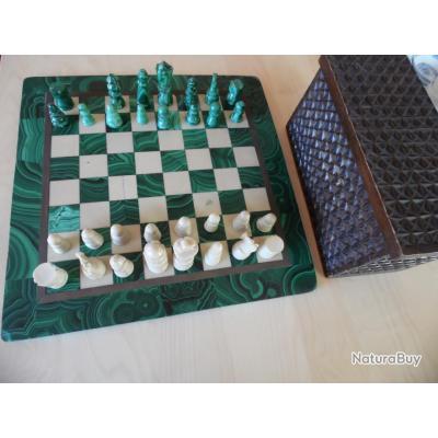jeu d 39 chec en malachite et marbre origine congo za re katanga objets divers 3073952. Black Bedroom Furniture Sets. Home Design Ideas