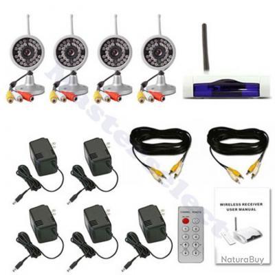 kit de 4 camera sans fil 2 4ghz infrarouge de surveillance pour magasin pack promo alarme et. Black Bedroom Furniture Sets. Home Design Ideas