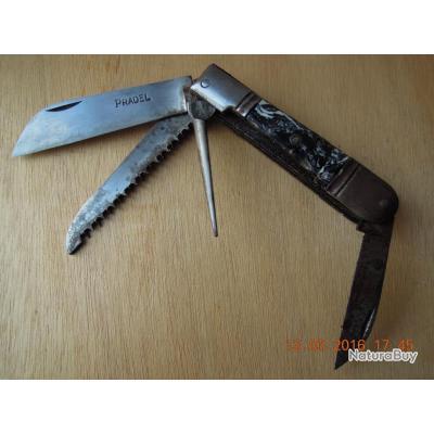 Pradel Beau couteau pliant de chasse des années 50.Fabrication française. Bon état