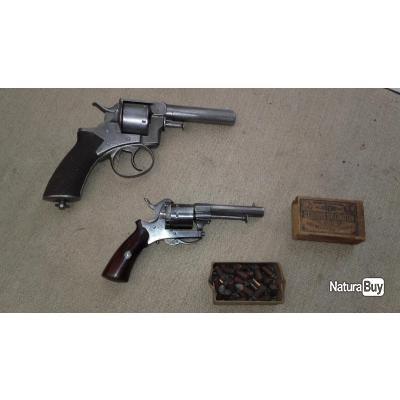 gros revolver webley patent cal 455  et revolvert lefaucheux inox 7mm +munition d'orrigines a broche
