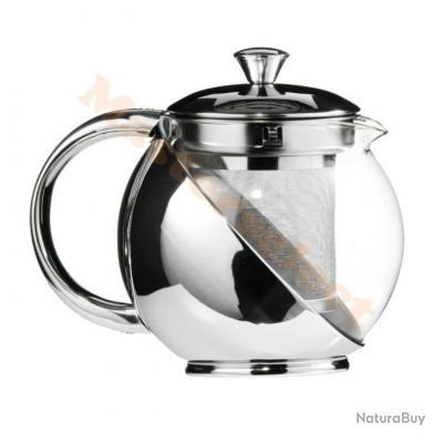 théière infuseur à thé en verre et inox 900ml pas cher - matériel