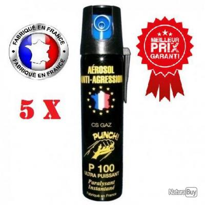 Lot 5 unités Bombe lacrymogene anti agression CS GAZ PUNCH P100 75ml