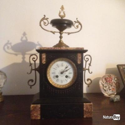 pendule marbre noir et rose segond empire horlogerie 3133357. Black Bedroom Furniture Sets. Home Design Ideas