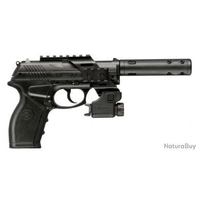 Pistolet CROSMAN C 11 TACTICAL AVEC LASER CLASS II ET SILENCIEUX CO2 4,5