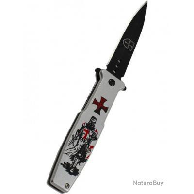 Offrez ce Coffret Couteau Pliant  Gris Modèle Templier Lame de 8 cm