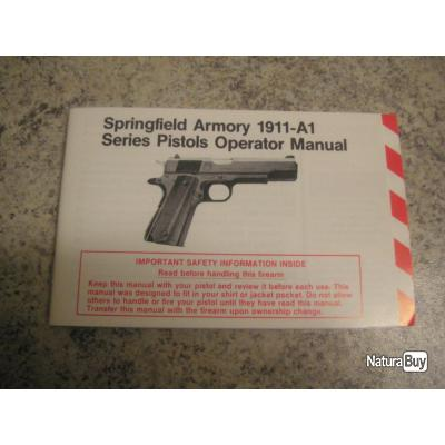 PISTOLET SPRINGFIELD ARMORY 1911-A1 MODE D'EMPLOI