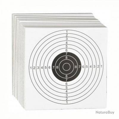 100 cibles 14x14 carton blanches pour carabine et pistolet a air comprimé