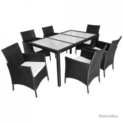 Salon de jardin 6 chaises rotin résine tressé synthétique noir + coussins +  housses 2108007