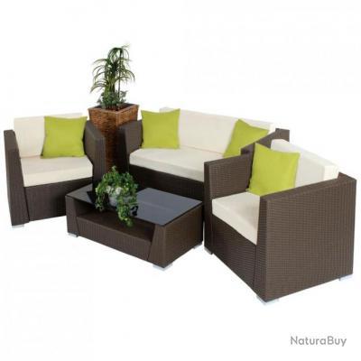 Salon de jardin rotin résine tressé synthétique noir + coussins + housses  2108012