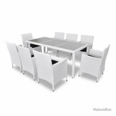 Salon de jardin blanc avec table + 8 chaises rotin résine tressé ...