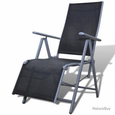 chaise de jardin pliable transat noir 2202009 - Jardin Transat