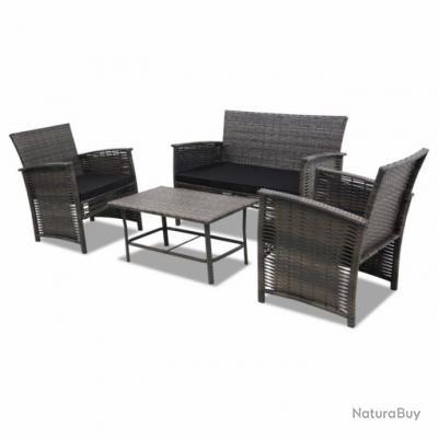 Salon de jardin table et fauteuils complet gris rotin résine tressé ...