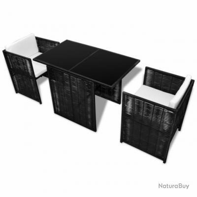Salon de jardin en rotin noir 2102012 - Mobilier (3183591)