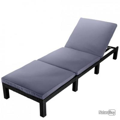 Chaise Transat Lit De Soleil Jardin Luxe Bain 2201050 Longue Noir XOPukZi