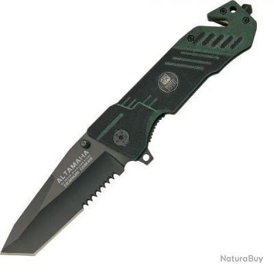 couteau militaire rui g10 altamaha avec coupe ceinture et brise vitre bicolore vert et noir. Black Bedroom Furniture Sets. Home Design Ideas