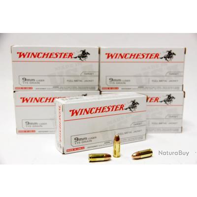 250 munitions 9x19 Winchester FMJ 115grs  5 boites de 50 cartouches